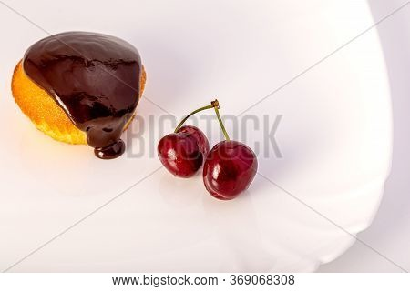 Homemade Cupcakes With Cherries And Chocolate. Classic Dessert. Cooking Dessert At Home.