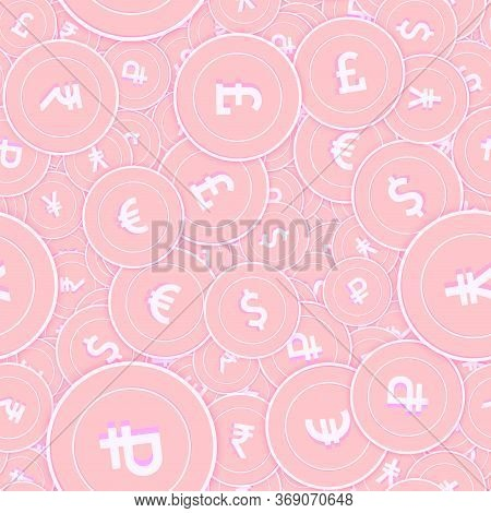 International Currencies Copper Coins Seamless Pattern. Divine Scattered Pink Global Coins. Success