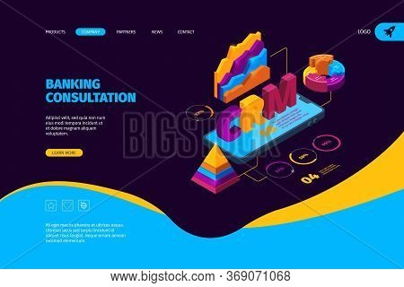 Crm Isometric. Business Landing Page With Organization Tools And Graphs Sales Systems Customer Clien