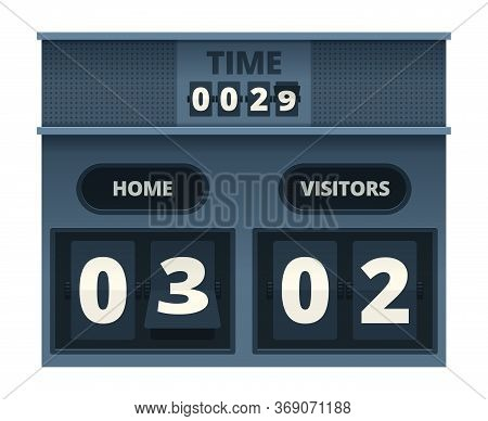 Scoreboard. Mechanical Counter With Flipping Numbers Soccer Sport Electronic Time Panel Vector Templ