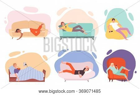 Lazy Characters. Laying People On Couch Or Sofa Watching Tv Sleeping Eating In Bed Relaxing Persons