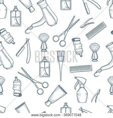 Barber Shop Pattern. Vintage Razor Comb Scissors Beauty Salon Items Vector Seamless Background. Illu