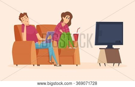 Couple Watching Tv. Isolation Period, Lazy Man Woman Eating Pizza. Guy Fell Asleep In Chair, Girl In