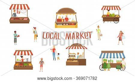 Local Market. Food Festival, Sellers And Customers. Summer Street Stalls Vector Illustration. Local