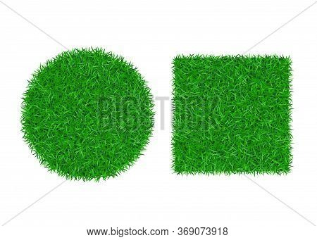 Green Grass Background 3d Set. Lawn Greenery Nature Ball. Abstract Soccer Field Texture Circle, Squa
