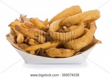French Fries And Fried Onion Rings In A Takeaway Box Isolated On White.