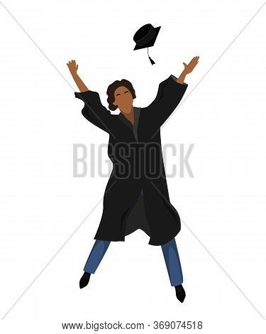 Young Graduate Student In Graduation Gown Jumping And Throwing The Mortarboard High Into The Air. Fl