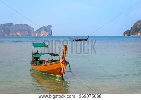 Longtail Boat Moored At The Long Beach, Phi Phi Islands, Krabi Province, Thailand