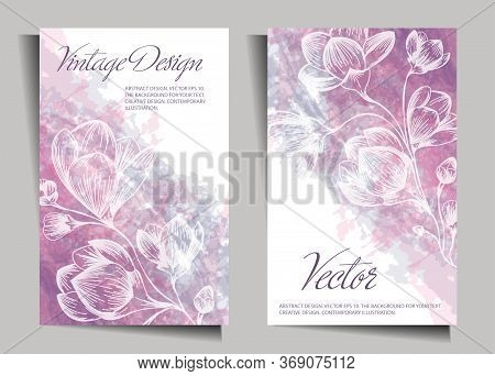 Vintage Design With Flowers On A Watercolor Background. Cover, Stencil For Notebook Design, Books, N