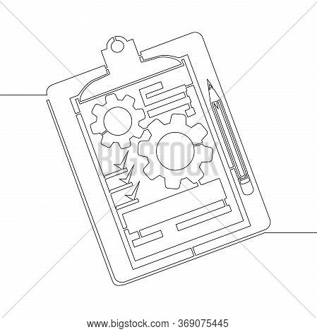 Continuous One Single Line Drawing Clipboard With Gear Cogwheel Technical Support Check List Icon Ve