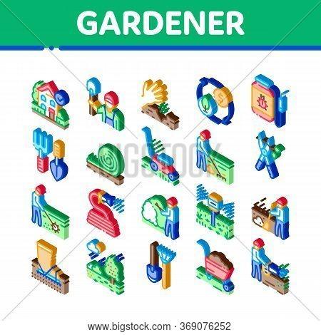 Gardener Worker Instrument Icons Set Vector. Isometric Gardener Shovel And Rake, Lawn Mower And Wate