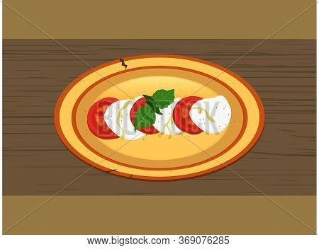 Hand Drawn Rustic Plate Dish With Caprese Salad Made Of Slices Of Tomatoes And Mozzarella Cheese Dus