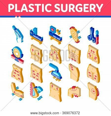 Plastic Surgery Clinic Icons Set Vector. Isometric Scissors And Scalpel Doctor Instrument, Breast An