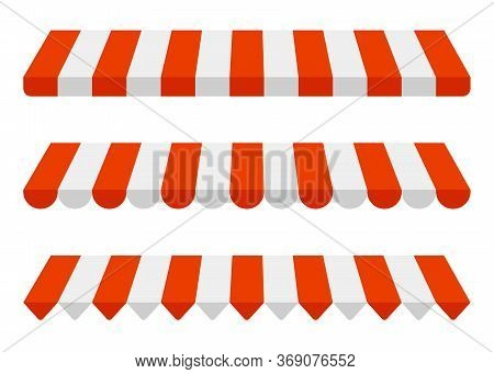Striped Awning Set, Red And White Sunshade Mockup. Canopy For Shops, Stores, Hotels, Cafes And Stree