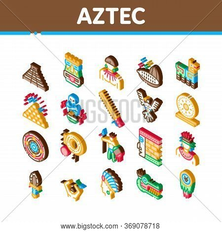 Aztec Civilization Icons Set Vector. Isometric Aztec Antique Pyramid And Gold, Bird And Animal, Cozc