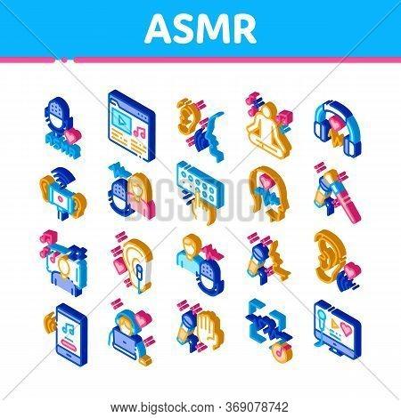 Asmr Sound Phenomenon Icons Set Vector. Isometric Asmr Autonomous Sensory Meridian Response, Microph
