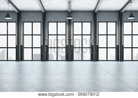 Modern Gallery Interior With Columns And City View. Gallery, Advertisement, Presentation Concept. 3d