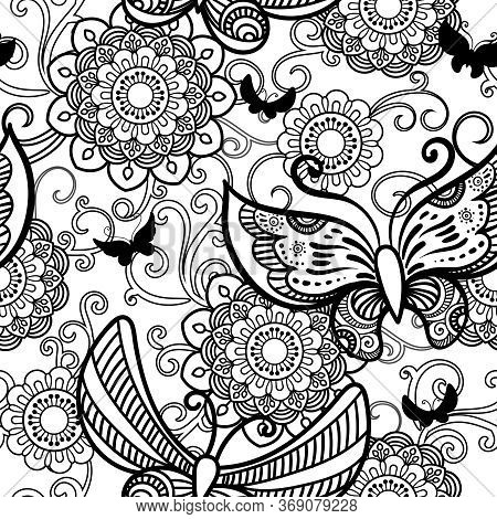 Hand Drawn Flowers And Butterfly Seamless Pattern. Black And White Vector Illustration In Doodles St