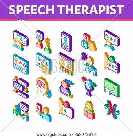Speech Therapist Help Icons Set Vector. Isometric Speech Therapist Therapy, Alphabet And Blackboard,