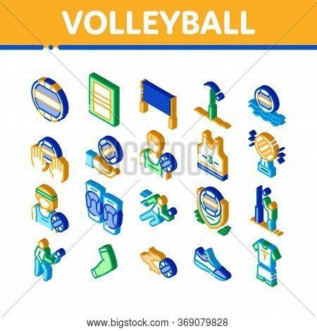 Volleyball Sport Game Icons Set Vector. Isometric Volleyball Ball In Water And Grid, Athlete Equipme