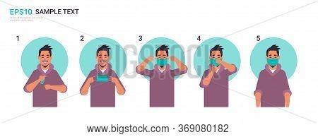 How To Wear Medical Face Mask Covid-19 Protection Asian Man Presenting Step By Step Correct Method O