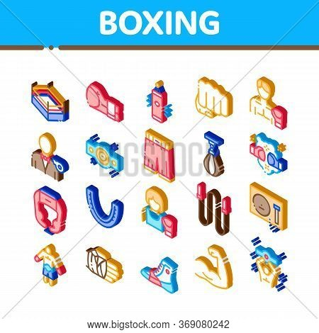 Boxing Sport Tool Icons Set Vector. Isometric Boxing Glove And Shirts, Protection Helmet And Mouth P