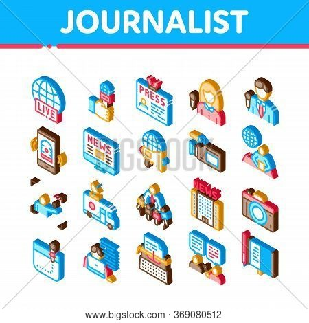Journalist Reporter Icons Set Vector. Isometric Journalist And Hand With Microphone, Video And Photo