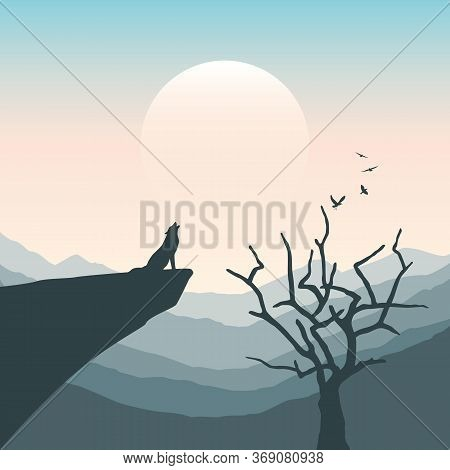 Wolf On A Cliff Howls At Full Moon Mountain Nature Landscape Vector Illustration Eps10
