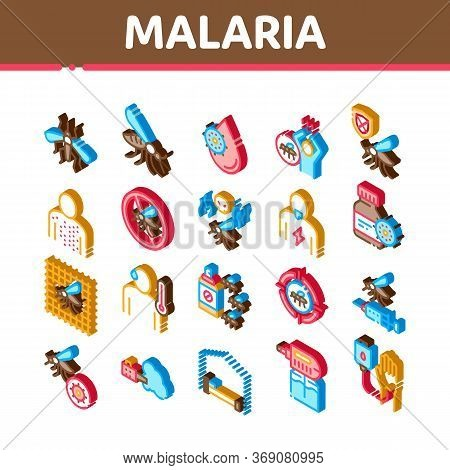 Malaria Illness Dengue Icons Set Vector. Isometric Malaria Mosquito, Spray And Protect Cream Bottle,
