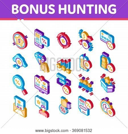 Bonus Hunting Elements Icons Set Vector. Isometric Magnifier And Bag With Percent Mark, Star, Diamon
