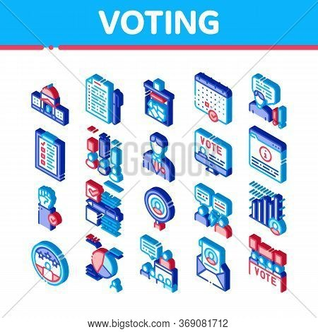 Voting And Election Icons Set Vector. Isometric Congress Building And Monitor, Calendar And Human Si