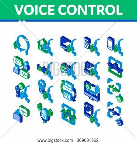 Voice Control Elements Icons Set Vector. Isometric Voice Controlling Smart House And Car, Laptop And