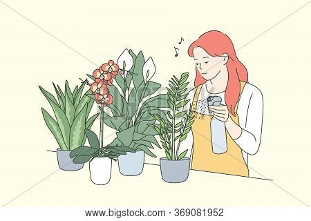 Decoration, Care, Floristics, Business Concept. Young Happy Woman Girl Florist Pouring Watering Deco