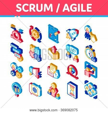 Scrum Agile Elements Vector Icons Set. Isometric Agile Rocket And Document File, Gear And Package, L