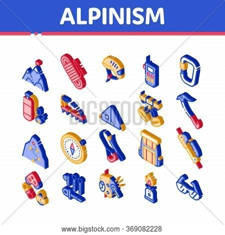 Alpinism Elements Vector Icons Set. Isometric Compass And Glasses, Mountain Direction And Burner Mou