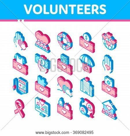 Volunteers Support Vector Icons Set. Isometric Volunteers Support, Charitable Organizations Pictogra