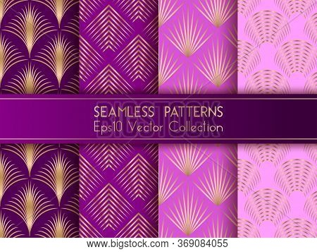 Art Deco Geometric Seamless Patterns Set Vector Graphic Design With Geometric Shapes And Thin Gold L