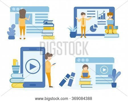Student Learning Online Courses. Man Training Online Courses. Concept Illustration Of Education For