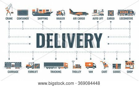 Delivery, Shipping And Logistics Horizontal Banner With Two Color Flat Icons Air Cargo, Trucking, Sh