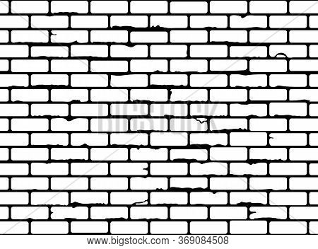 Seamless Grunge Brick Wall Texture. Realistic Black And White Brickwall Background. Pattern For Desi
