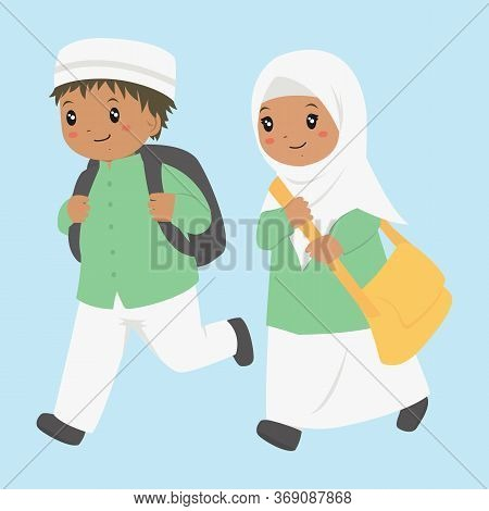 Muslim African American Boy And Girl Running To School. Muslim Students Vector Characters.