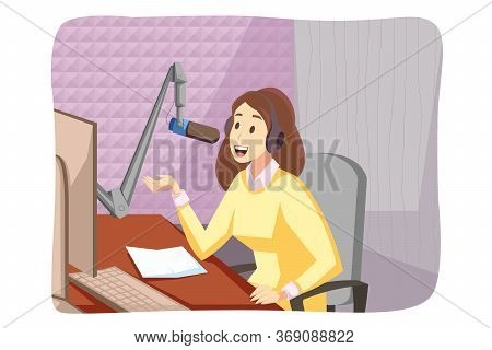 Podcasting, Broadcasting, Blogging Concept. Young Woman Girl Blogger Radio Host Cartoon Character Si