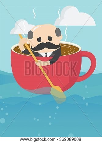 Elderly Businessman Who Is In A Cup Of Coffee And Is Rowing Ahead With A Weary Expression On His Ove