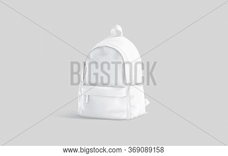 Blank White Closed Backpack With Zipper Mockup, Half-turned View, 3d Rendering. Empty Student Carry