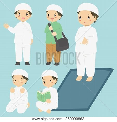 Vector Collection Of A Muslim Boy Doing His Daily Activities. Muslim Boy Reading Quran, Praying, And