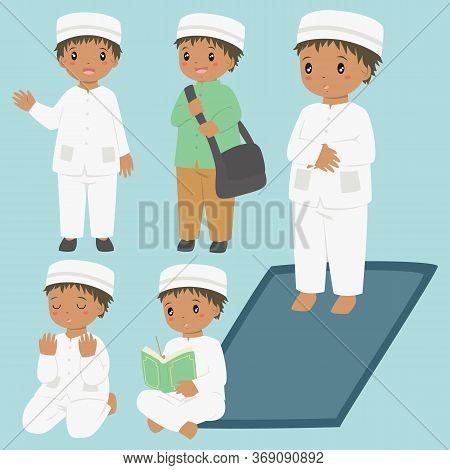 Muslim African American Boy Daily Activities. Muslim Boy Ready For School, Reading Quran, Praying, A