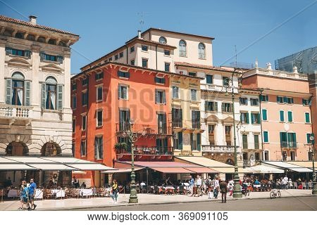 Italy, Verona, June 01, 2019: View Of The City Square With Ancient European Architecture With Street