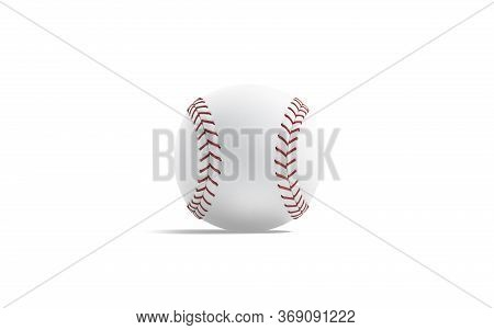 Blank White Baseball Ball With Red Seam Mockup, Front View, 3d Rendering. Empty Circle Sports Equipm