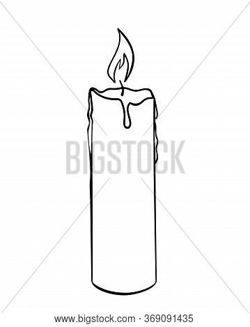 Wax Candle - Pictogram Or Logo. Wax Burning Candle - Vector Linear Picture For Coloring.