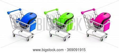A Variety Of Different Colorful Computer Wireless Mouse In Shopping Trolley Isolated On White. Choic